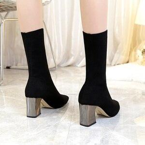 Image 3 - 新アンクルブーツ秋のポインテッドトゥストレッチニットソックスブーツプラスサイズハイヒール女性スリップ靴ホットファッション靴