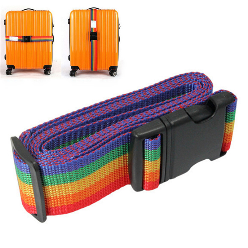 1PCS Luggage Belt Adjustable Nylon Travel Luggage Backpack Bag Luggage Suitcase Straps Baggage Rainbow Belt