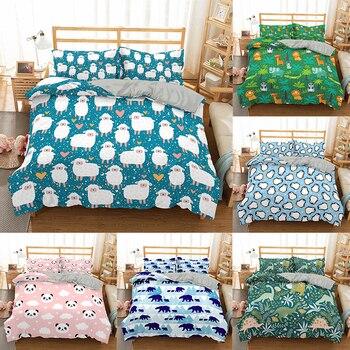 ZEIMON, juego de cama de 2/3 Uds., funda de edredón para adultos y niños con dibujos de animales, fundas de edredón de dinosaurio, ropa de cama para niños y niñas