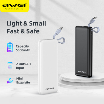 AWEI New P2K Mini Power Bank 5000mAh Portable Charger Battery Bank Powerbank Buit In Type-C Cable For iPhone Xiaomi image