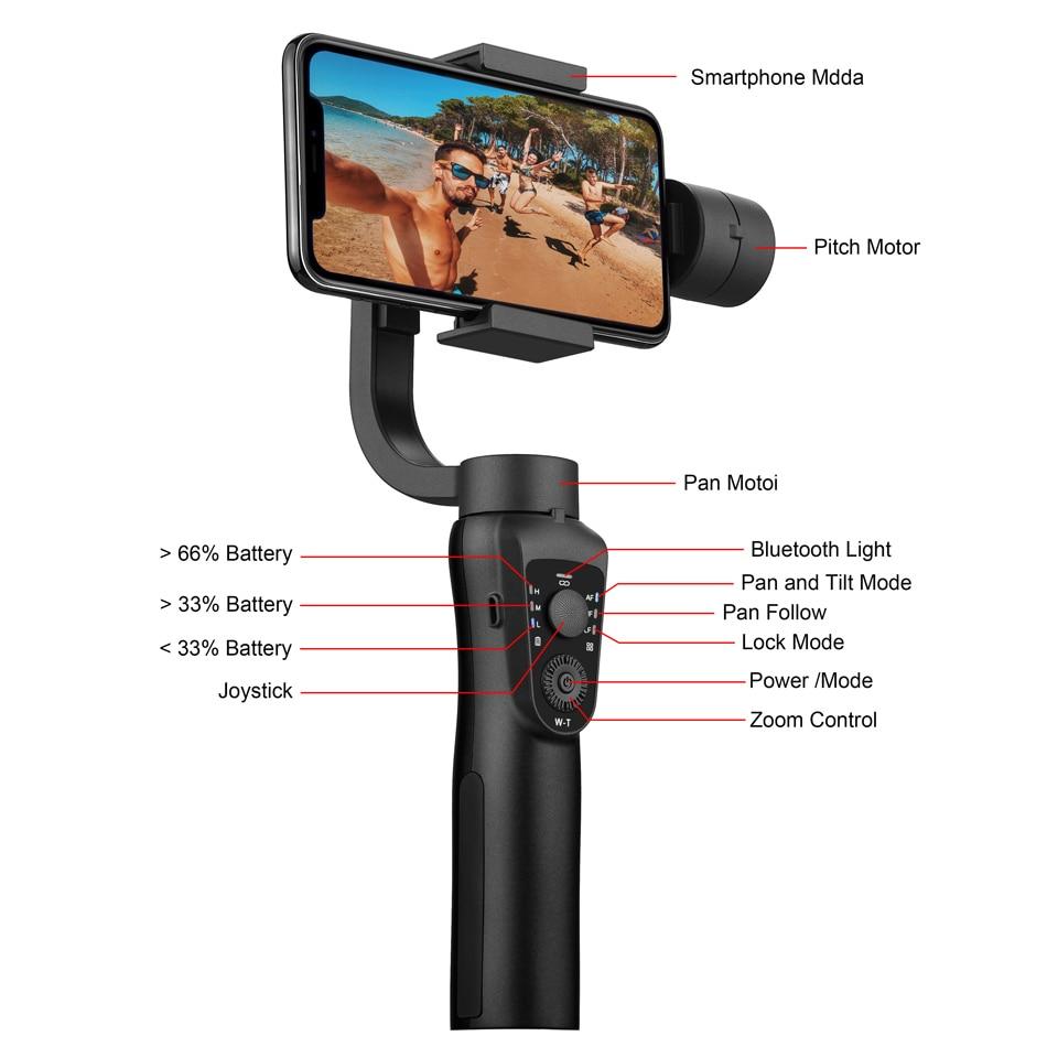 EKEN S5B 3-osni ručni kardanski stabilizator mobilni telefon video - Kamera i foto - Foto 3