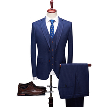 2019 new striped suit three-piece (suit + trousers vest) high quality mens fashion groom wedding