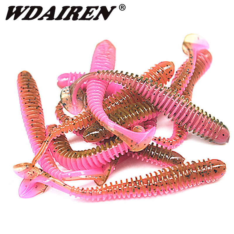 WDAIREN Worms Soft Bait T Tail Swimbait Fishing Lure 5.5cm 0.8g Artificial Double Color Silicone Baits Bass Fishing Jig Wobbler