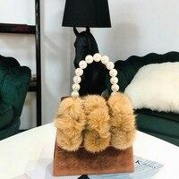 JHD Women'S Pearl Handle Totes Handbags Rabbit Fur Bag Box Evening Bag Vintage Female Top Handle Purse Shoulder Bag