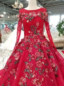 Image 5 - BGW HT33020 צבע תחרה פרח יפה שמלת מהיר חינם מסין ארוך שרוול O צוואר תחרה עד בחזרה זול שמלת ערב 2020