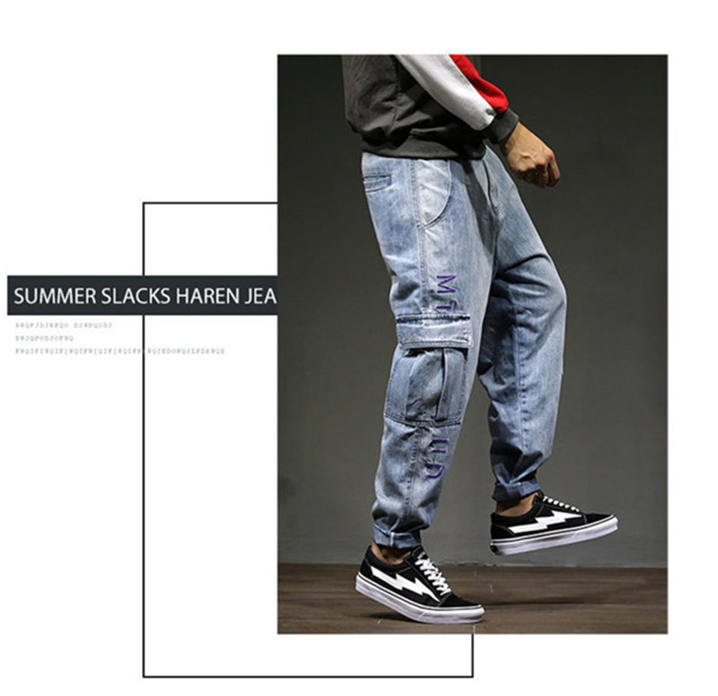 Men`s Casual Cargo Pants 2018 New Fashion Autumn Male Denim Jeans Pants Hip Hop Loose Embroidery Multi-pockets Trousers 28-42 (7)