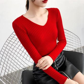 Women Casual Slim V-Neck Bottoming Sweaters Knitting Rendering Unlined Upper Long Sleeve Solid Color Pullover Sweaters for Women 8