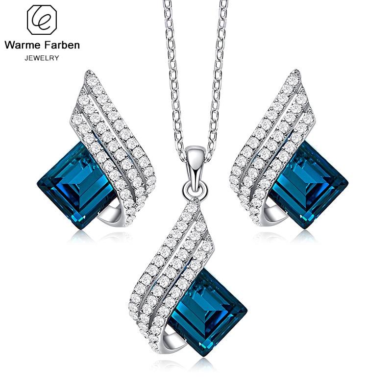 Fine Jewelry Set for Woman Geometric Diamond Glass Crystal Pendant Necklace Dangle Earrings Jewelry Set Crystal from Swarovski