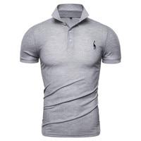 Новая летняя модная мужская рубашка поло, однотонная приталенная хлопковая рубашка поло с отложным воротником, Мужская брендовая одежда с ...