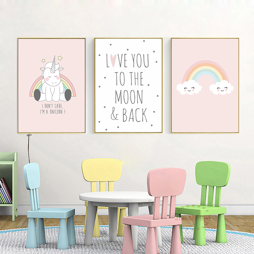 Rainbow Canvas Painting Kids Poster Nordic Pink Picture Unicorn Poster Nursery Posters and Prints Baby Rooms Quote Art Unframed