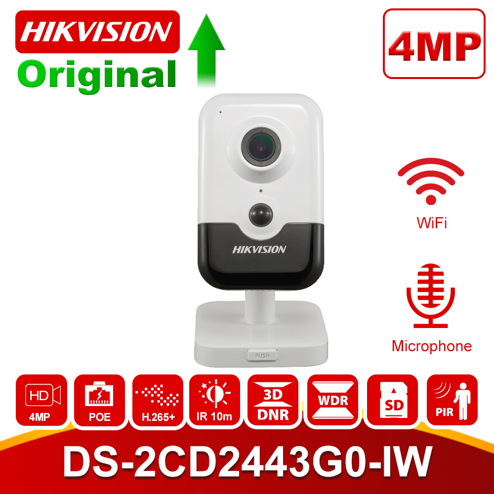 Hikvision Home Security Wi-Fi Camera PoE DS-2CD2443G0-IW 4MP IR Fixed Cube Wireless IP Camera Built-in Speaker H.265+