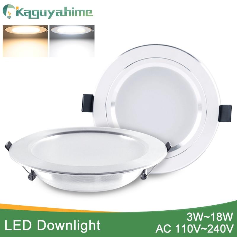 Kaguyahime LED Downlight 3W 5W 9W 15W 18W Silver White Ultra Thin Downlight AC110V 220V 240V Round Recessed LED Spot Lighting