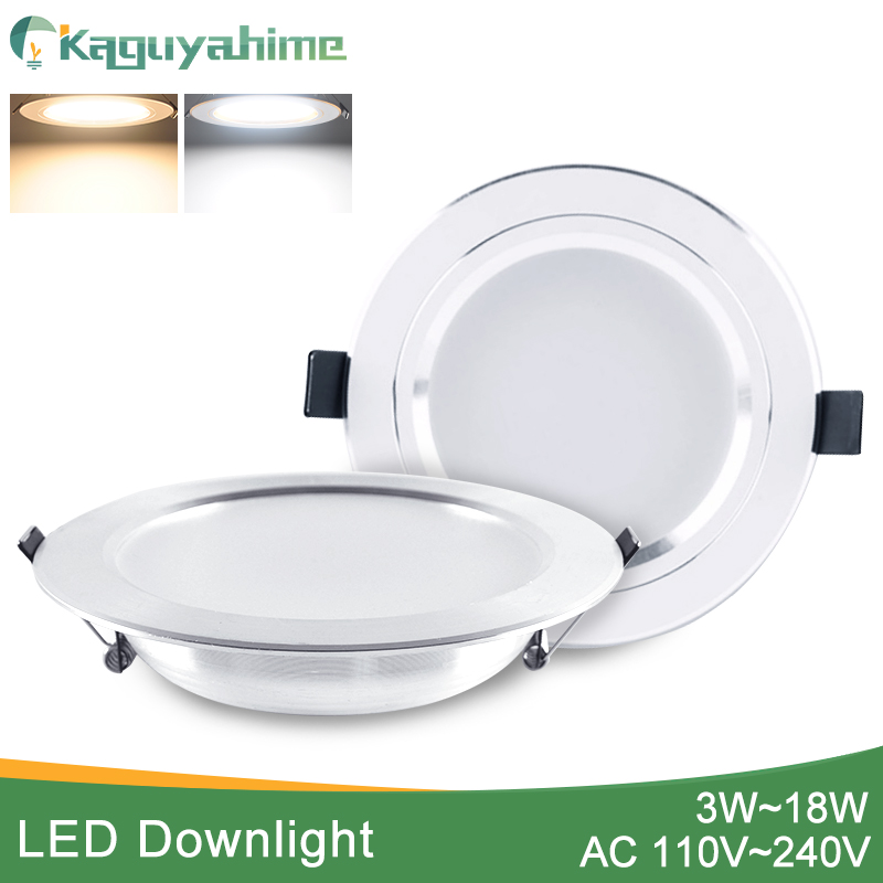 Kaguyahime LED Downlight 3W 5W 9W 15W 18W Silver White Ultra Thin Downlight AC110V 220V 240V Round Recessed LED Spot Lighting