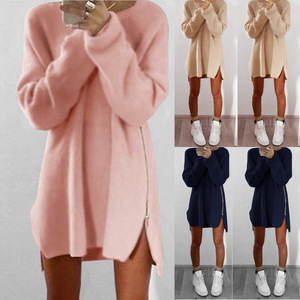 Women Autumn Winter Dress Solid Long Sleeve Zipper Slit Loose Mini Sweater Dress Plus Size Party Night Club Sexy Dresses XXXXXL(China)