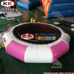 Air-tight attractive lake PVC inflatable water trampoline bouncer/ Pink trampoline floating for water sport games