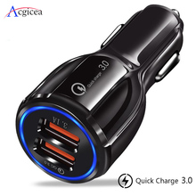 Car USB Charger for iPhone Quick Charge 3 0 2 0 Mobile Phone Charger 2 USB Fast Car Charger for Samsung A50 A30 S10 Car-Charger cheap acgicea Travel Car Lighter Slot ROHS USB Car Charger Mobile Phone Charger Qualcomm Quick Charge 3 0 9V 1 67A QC 3 0 USB Charger For Car