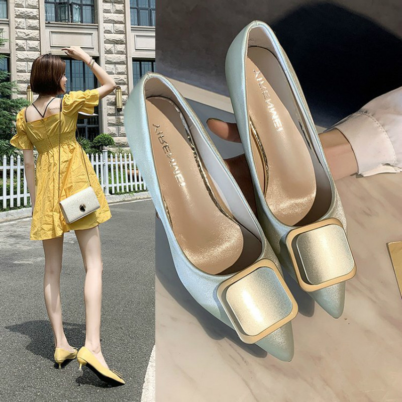 Autumn 2019 New Womens Shoes Pumps Fine heel Lady Patent leather Thick Pointed Single Toe Female  Yasialiya