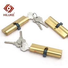 HILUKE 100mm brass alloy security double open lock cylinder three brass keys for wooden door lock core hihg quality 90 center 45 45 lock core double side copper blade security door lock high security lock core double open anti snap anti drill
