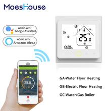 WiFi inteligentny termostat regulator temperatury do wody elektryczne ogrzewanie podłogowe woda kocioł gazowy współpracuje z Alexa Google Home tanie tanio MoesHouse CN (pochodzenie) 95-240VAC 50~60HZ NTC3950 10K +-0 5 C 5 -35 C 5 ~ 99 C 0 ~ 45 C 5 ~ 95 RH (Non Condensing)