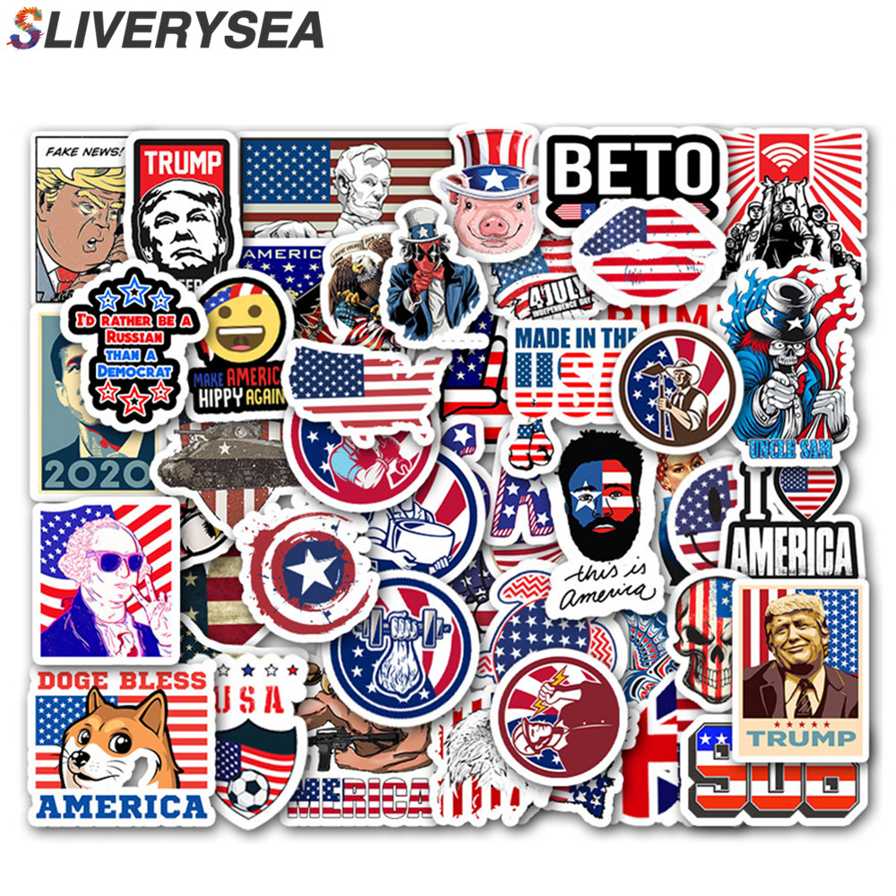 50 PCS US America USA Car Stickers And Decals For Laptop Motorcycle Skateboard Graffiti Sticker