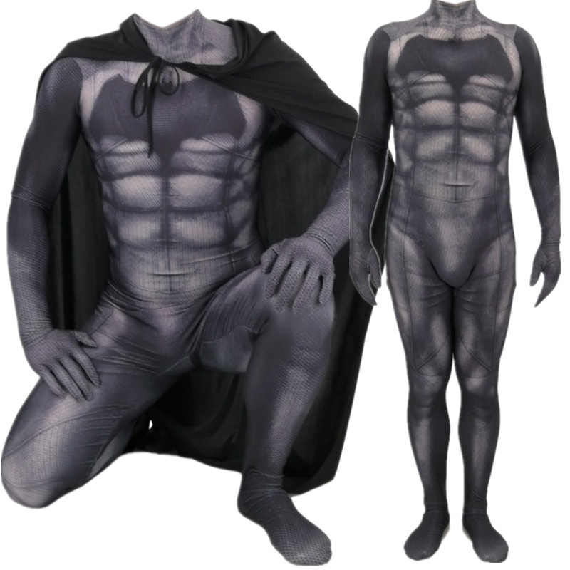 Superman Batman v: Dawn of Justiça Bruce Wayne Traje Cosplay Zentai Superhero Bodysuit Macacões Terno Manto