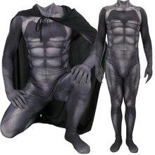Batman v Superman: adalet şafak Bruce Wayne Cosplay kostüm Zentai süper kahraman Bodysuit takım tulumlar pelerin