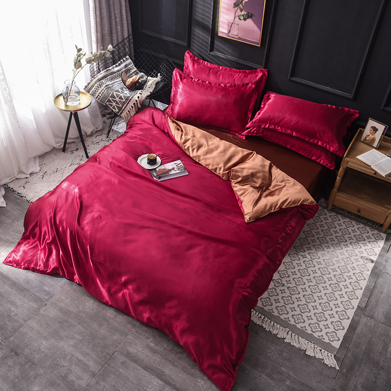 Silky touch bedding set soft duvet cover smooth flat sheet fitted sheet bed set romantic Solid color King queen twin size
