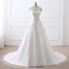 Wedding-Dresses Detachable Train H--S-Bridal Sleeveless A-Line with Veil Skirt Guest