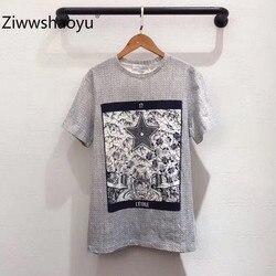 Ziwwshaoyu de lino de alta calidad + algodón Primavera Verano patrón de moda estampado de manga corta Camiseta Casual de las mujeres