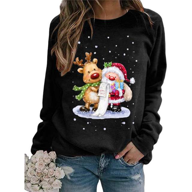 #2020 Fashion Christmas Women's Sweaters Christmas Print Long-sleeved Sweaters Casual Top Loose Sweaters Pullover Female свитер 2