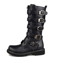 Мужские кожаные мотоциклетные ботинки до середины икры, военные боевые ботинки, готические ботинки в стиле панк с ремешком, мужская обувь, т...
