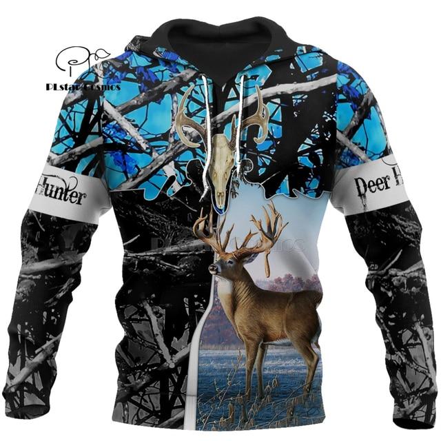 Camo HUNTING ANIMALS elk deer art 3D Hoodies Hoodie Men Women New Fashion Hooded Sweatshirt Long Sleeve Casual Pullover coat-26