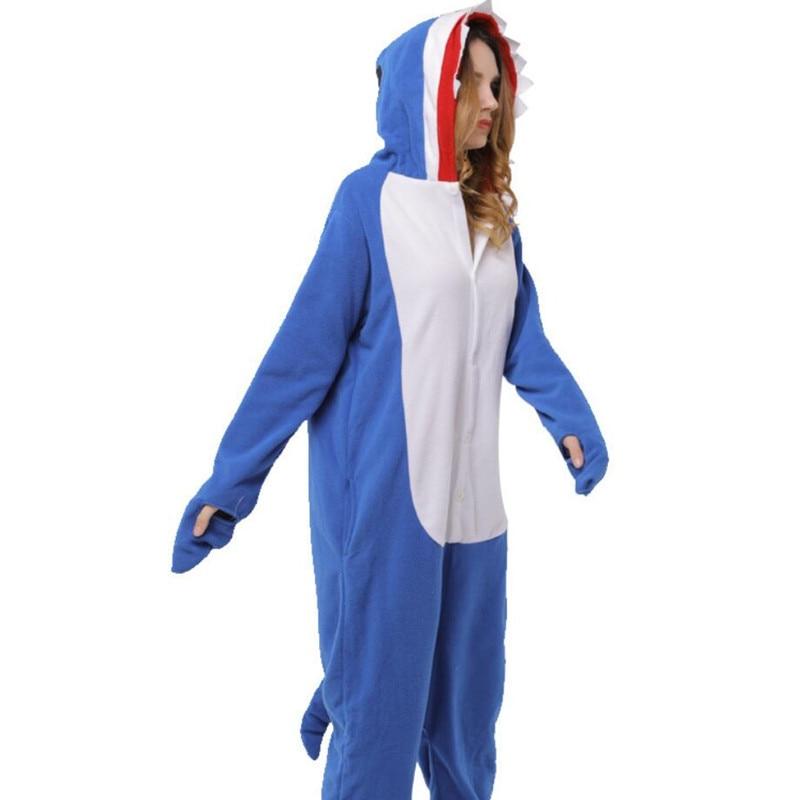 Blue Shark Pajamas High Quality Polar Fleece Cosplay Costume Women Adult Fancy Cute Animal Onepiece  Warm Winter Party Kigurumi