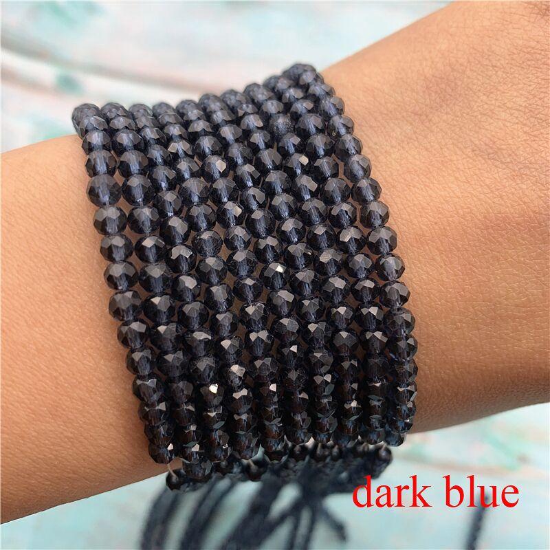 40 цветов 1 нить 2X3 мм/3X4 мм/4X6 мм хрустальные бусины rondelle хрустальные бусины стеклянные бусины для самостоятельного изготовления ювелирных изделий - Цвет: Dark Blue