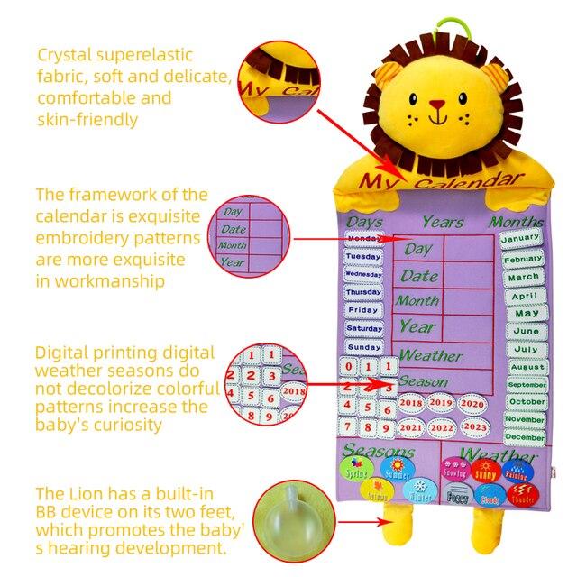 아기 조기 교육 달력 인형 (날씨, 날짜, 번호 등) 2020 새로운 어린이 학습 에이즈 보드 봉제 인형