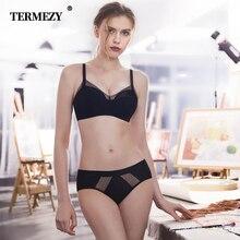 TERMEZY Women Cotton Underwear Sexy Bra Set Black Lace Lingerie Push Up Bras of linen set 2019 New