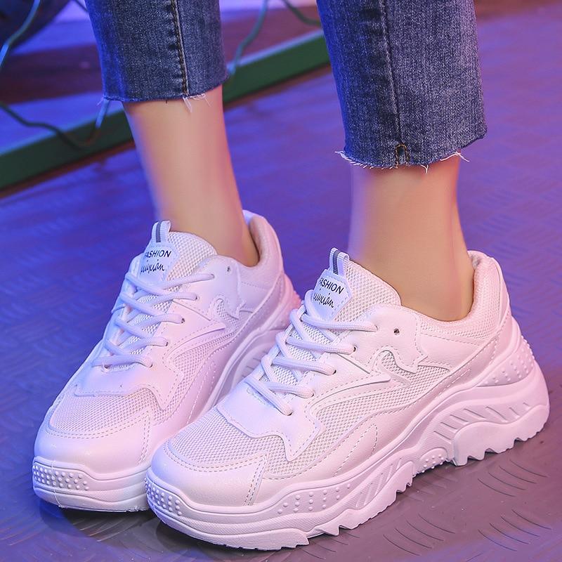 Harajuku Style Chunky Sneakers Women Vulcanize Shoes Comfort Women Shoes White Sneakers Walking Shoes Platform Sneakers Female