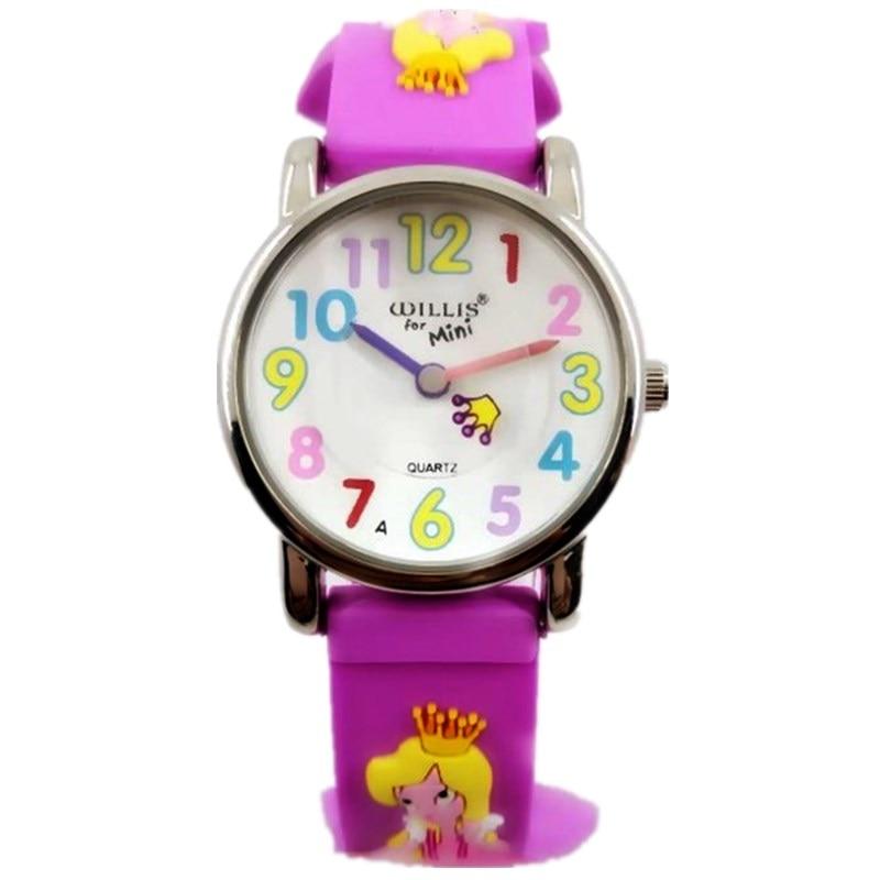 Willis 3D Fashion Princess Rubber Strap Quartz Girl Watches Luxury Brand Waterproof Leisure Children Child Clock Wristwatches