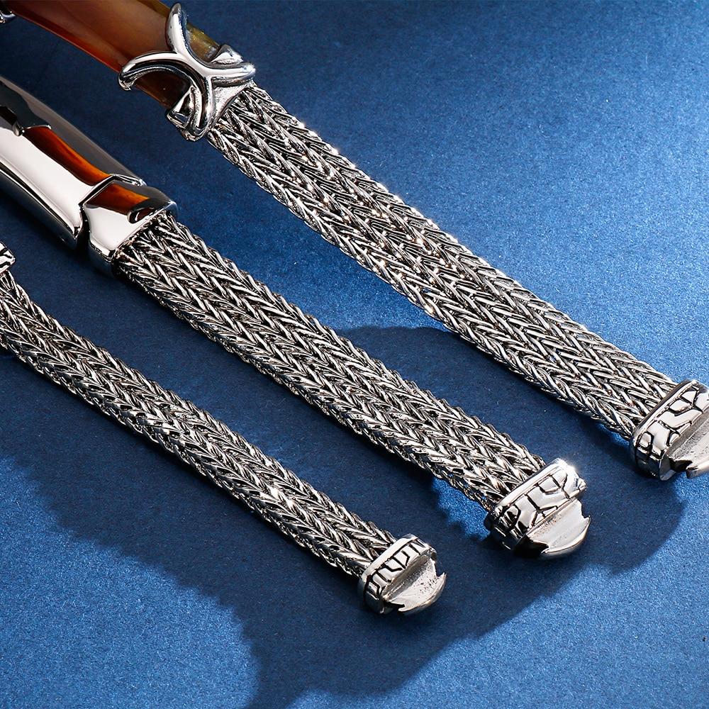 Image 3 - 22CM Long Friendship Bracelets Vintage Resin ID Bracelet For Men Quality 316L Stainless Steel 10MM Wide Chain Jewelry Drop ShipID Bracelets   -