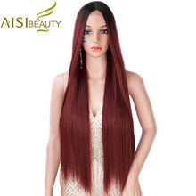 AISI BEAUTY – perruque synthétique lisse rouge ombré, longue, pour femmes, couleurs noir brun blond, naissance des cheveux naturelle, raie au milieu