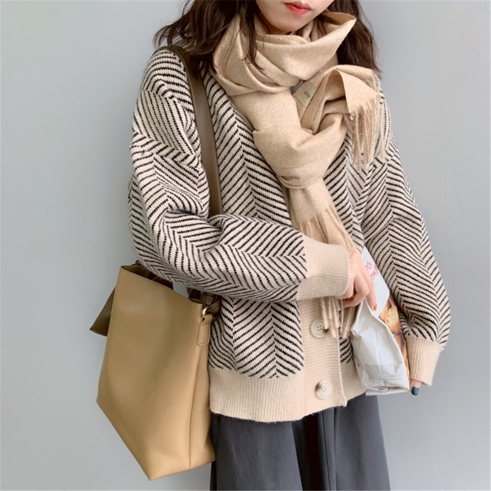 Winter Knitted Sweater Cardigans Women 2020 Spring Open Stitch Loose Knit Cardigans Pink Jumper Striped Sweater Coat Femme 9220 (30)