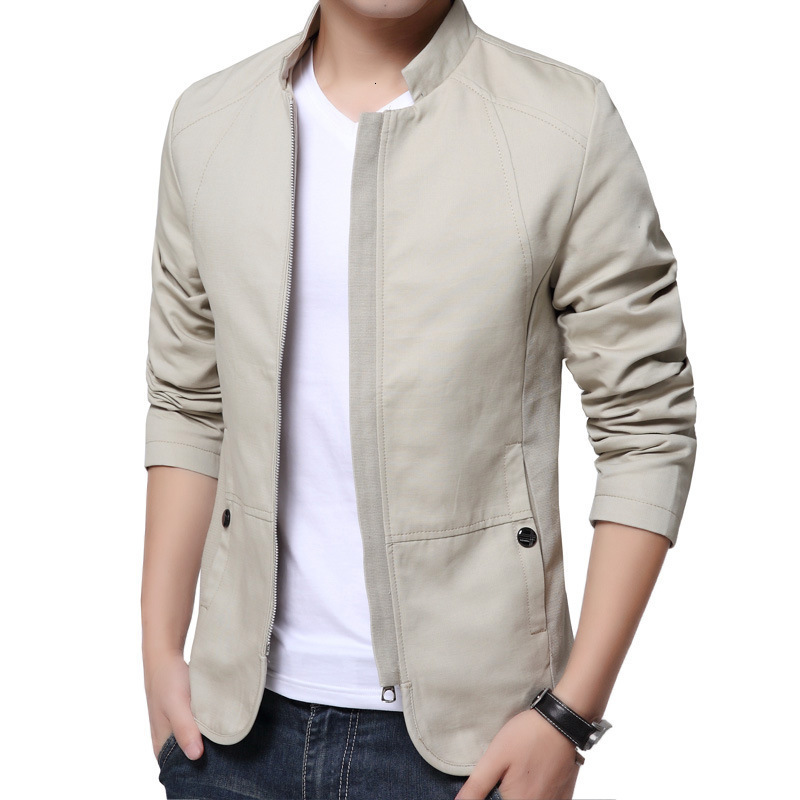 H37a2723ce3714a25b0d80a308608e171M Autumn Cotton Jacket Men Slim Casual Baseball Jackets For Men Stand Collar With Zipper Coat Homme Fashion Men Clothing M-5XL