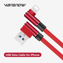Vansnow USB Data Cable for iPhone Charger Lightning Port 90 Degree USB Cable For IPhone 11 ProX XR XS MAX 5 6 S 6S 7 8 Plus IPad кабель a data lightning usb для iphone ipad ipod 1м золотистый amfial 100cmk cgd