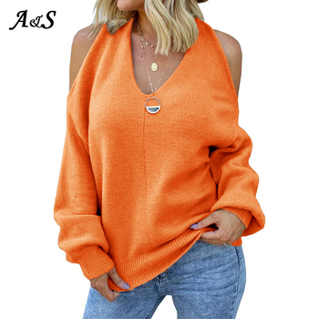 Anbenser V Neck Off Shoulder Sweater For Women Streetwear Fashion Lantern Sleeve Casual Solid Knit Pullover Female Cross Sweater lace applique lantern sleeve cold shoulder top