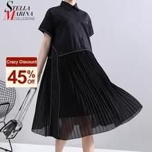 Nova moda mulher verão estilo coreano preto plissado camisa vestido chiffon retalhos lapela senhoras bonito casual vestido midi robe 6168