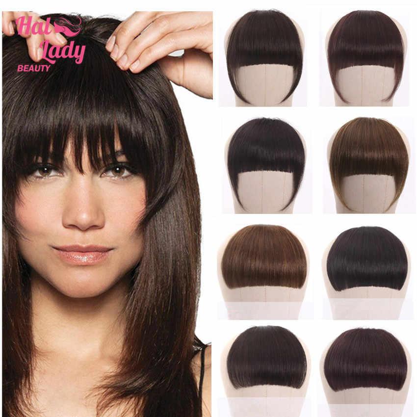 Halo Lady Beauty Braziliaanse Menselijk Haar Stompe Pony Clip In Human Hair Extension Non-Remy Clip-In Fringe haar Pony 613 Neat Bang