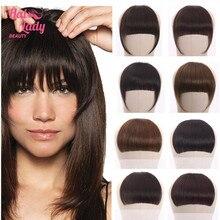Halo Lady — Frange à clip brésilienne naturelle, extension de cheveux humains avec 613 belles franges soignées