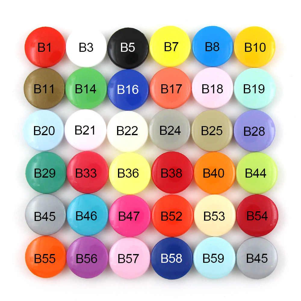 KAM 20 zestawów T5 przycisk 12MM plastikowy guzik zatrzaskowy na ubrania zapięcia kapa na kołdrę przycisk zatrzask na śliniaki/pieluchy 35 kolorów