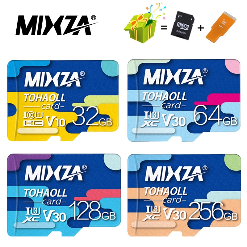 MIXZA carte mémoire 256GB 128GB 64GB U3 80 mo/s 32GB carte Micro sd Class10 UHS-1 carte flash mémoire Microsd TF/SD cartes pour tablette