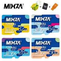 MIXZA carte mémoire 256GB 128GB 64GB U3 80 mo/s 32GB carte Micro sd Class10 UHS-1 carte flash mémoire Microsd TF/SD cartes pour tablette
